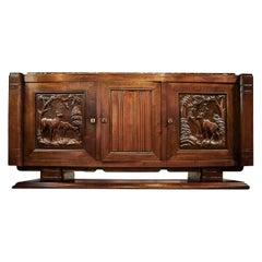 Rare Art Deco Midcentury Solid Walnut Credenza Sideboard, French, circa 1930