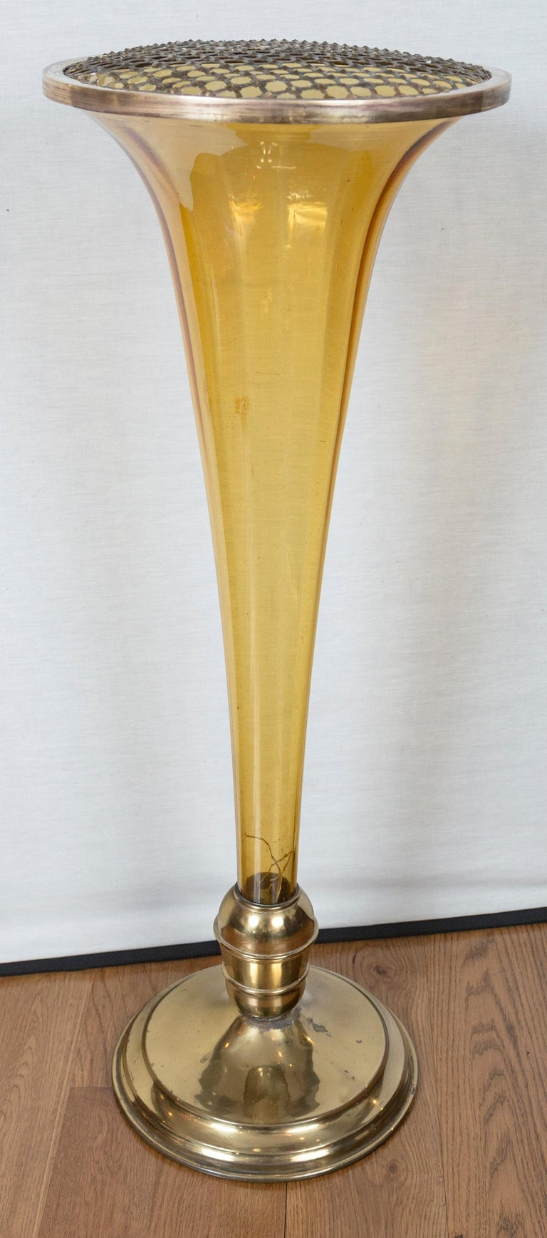 Large and dramatic Murano amber glass trumpet- shaped vase with brass base and removable brass frog cap.