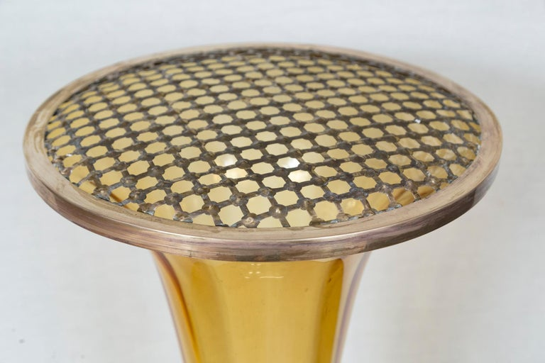 Italian Rare Art Deco Murano Blown Amber Floor Vase For Sale