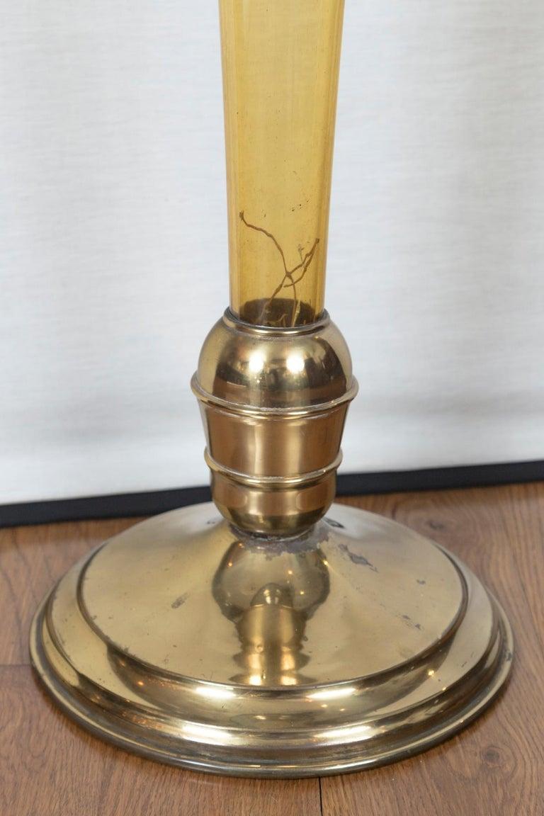 Rare Art Deco Murano Blown Amber Floor Vase For Sale 1