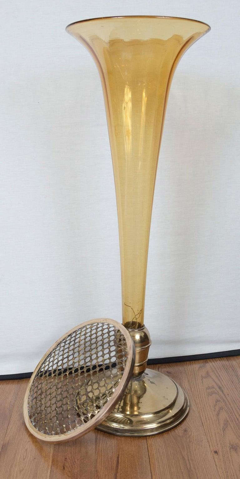 Rare Art Deco Murano Blown Amber Floor Vase For Sale 2