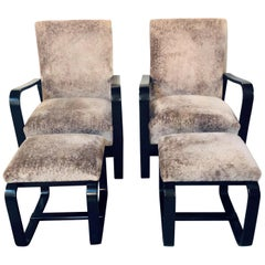 Rare Art Deco Pair of Giuseppi Pagano Pogatschnig Bentwood Armchairs & Ottomans