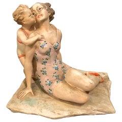 Rare Art Deco Plaster Italian Statue, circa 1940
