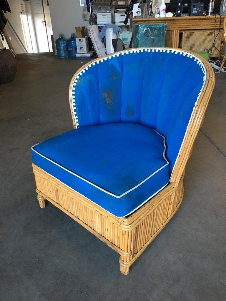 Modern Rare Art Deco Shell Back Stick Rattan Lounge Chairs For Sale