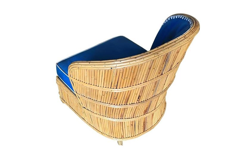 American Rare Art Deco Shell Back Stick Rattan Lounge Chairs For Sale