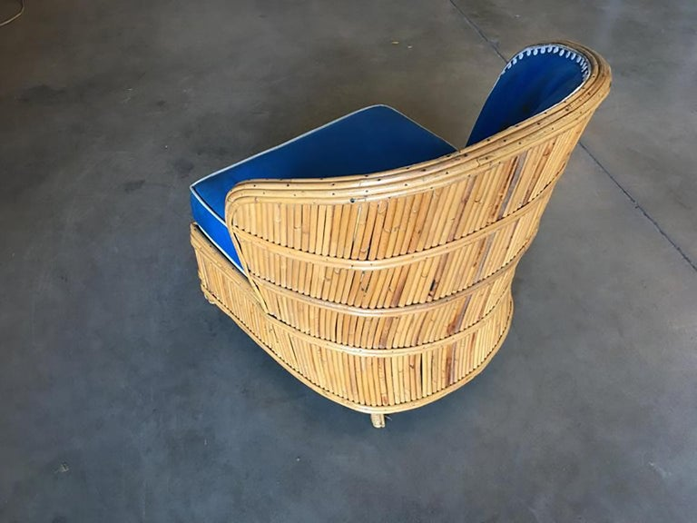 Rare Art Deco Shell Back Stick Rattan Lounge Chairs In Good Condition For Sale In Van Nuys, CA