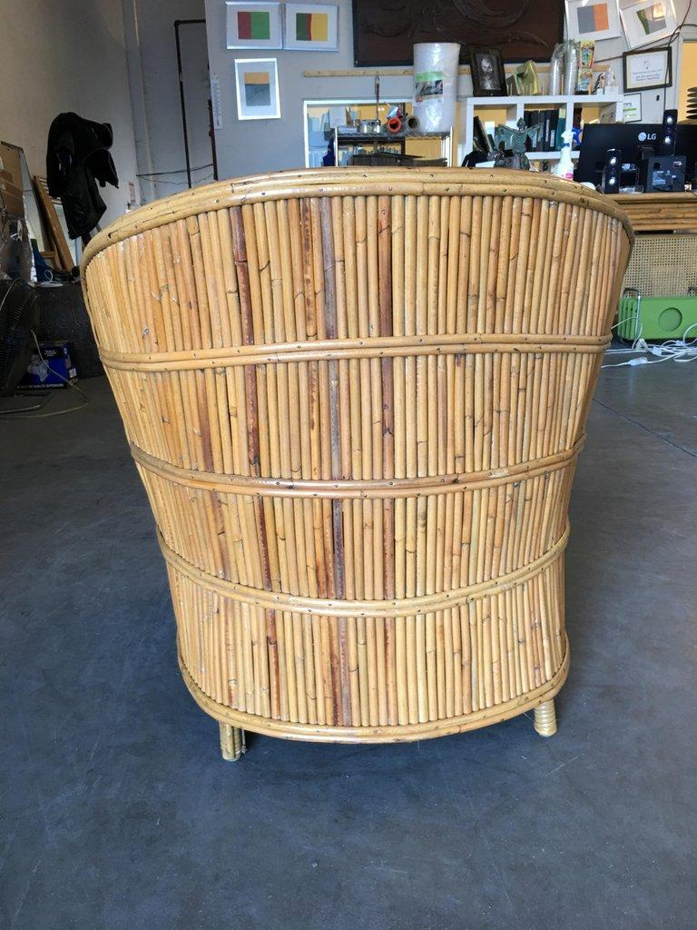 Rare Art Deco Shell Back Stick Rattan Lounge Chairs For Sale 1