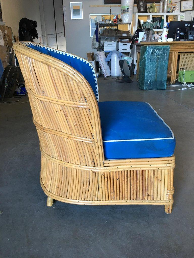 Rare Art Deco Shell Back Stick Rattan Lounge Chairs For Sale 2