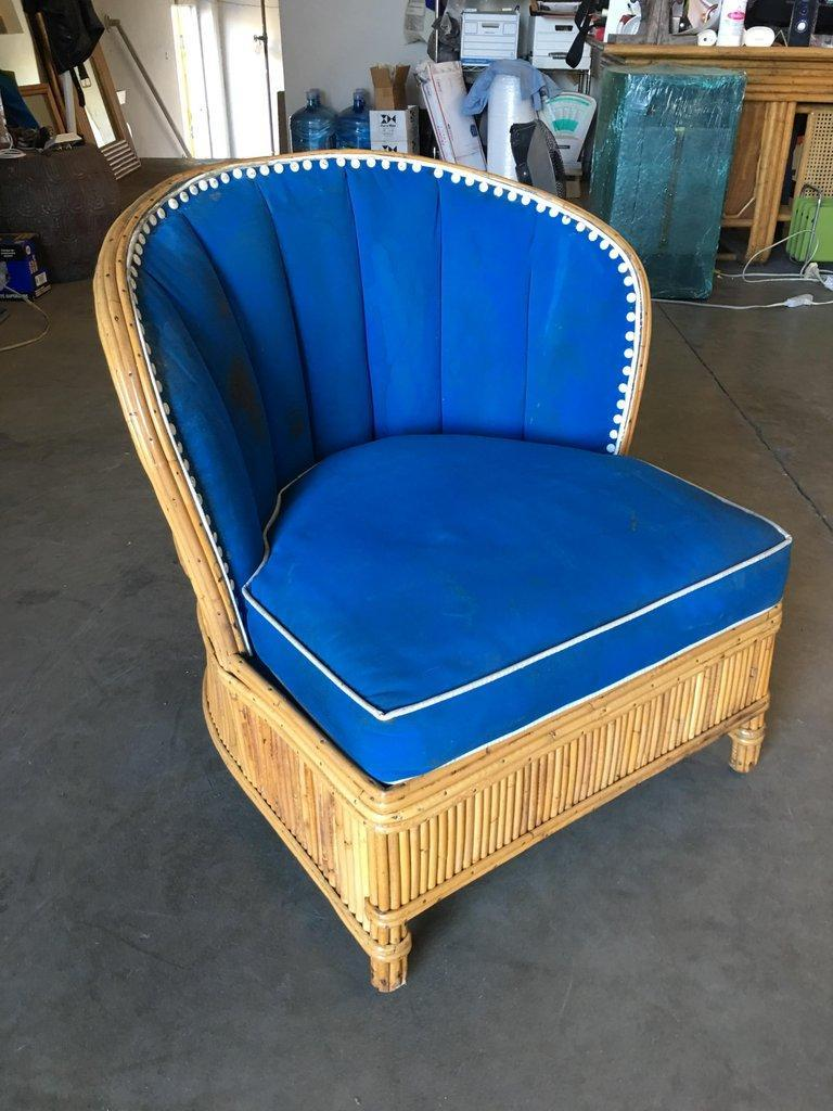 Rare Art Deco Shell Back Stick Rattan Lounge Chairs For Sale 3