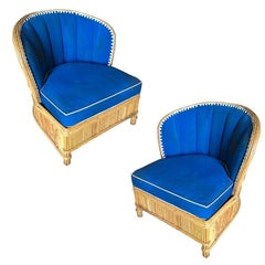 Rare Art Deco Shell Back Stick Rattan Lounge Chairs