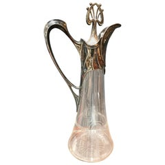 Rare Art Deco Silver Plate and Crystal Set of 2 Pitcher, Italy, 1930s