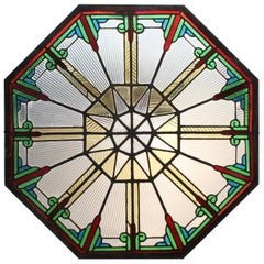 Rare Art Deco Stained Glass Octagonal Skylight