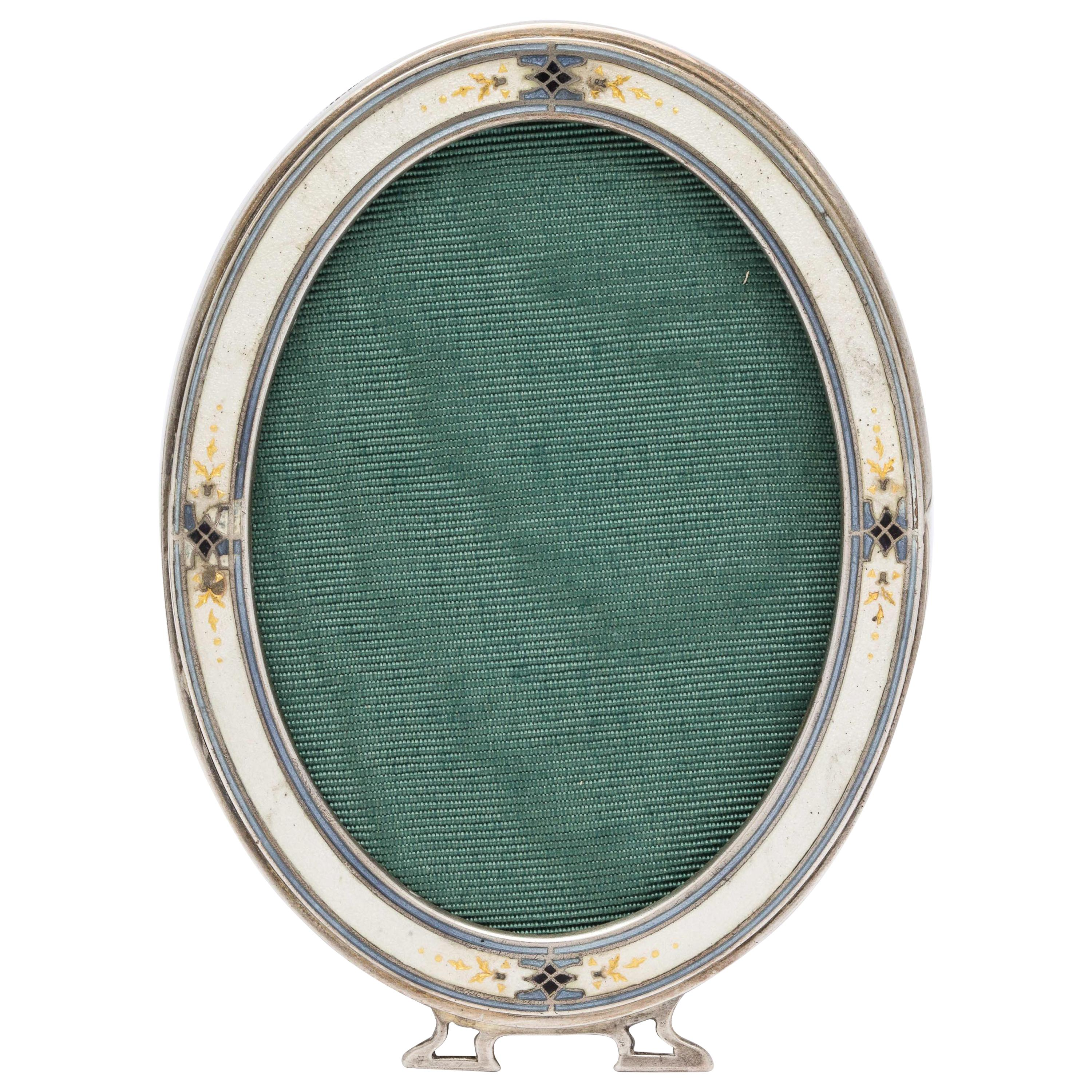 Rare Art Deco Sterling Silver and Guilloche Enamel Picture Frame by Blackinton