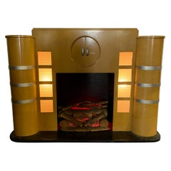Rare Art Deco Streamline Fireplace Mantel, Manufactured by Majestic