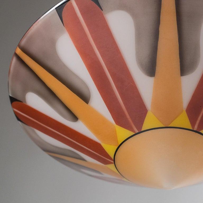 Rare Art Deco Suspension Light, 1920s, Enameled Glass For Sale 7