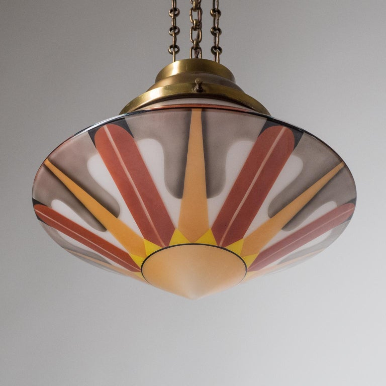 Rare Art Deco Suspension Light, 1920s, Enameled Glass For Sale 8