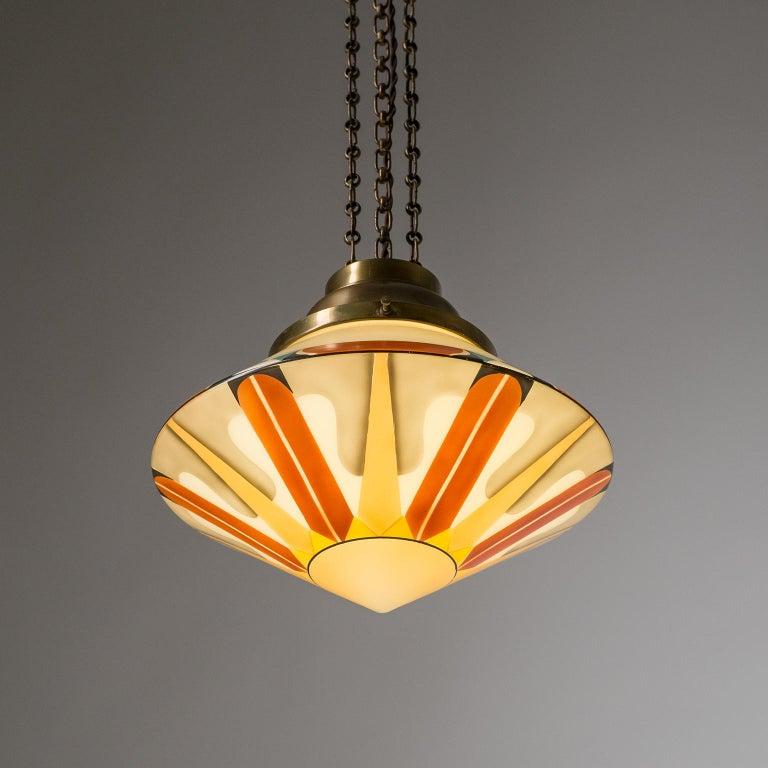 Rare Art Deco Suspension Light, 1920s, Enameled Glass For Sale 9