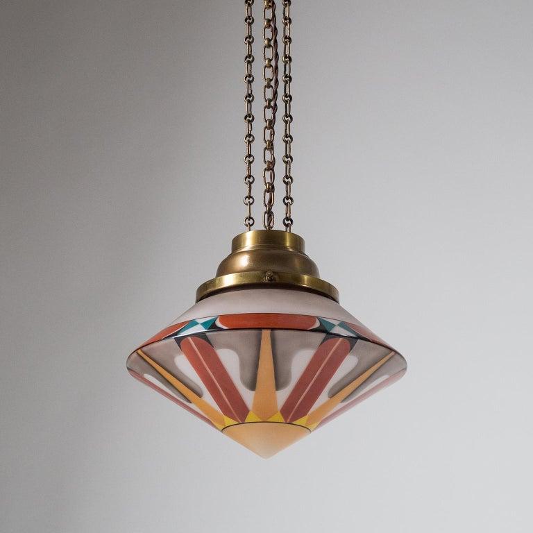 German Rare Art Deco Suspension Light, 1920s, Enameled Glass For Sale