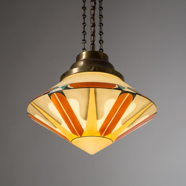 Rare Art Deco Suspension Light, 1920s, Enameled Glass In Good Condition For Sale In Vienna, AT