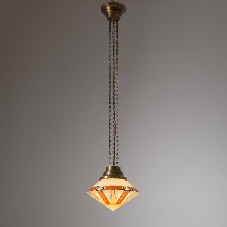 Early 20th Century Rare Art Deco Suspension Light, 1920s, Enameled Glass For Sale