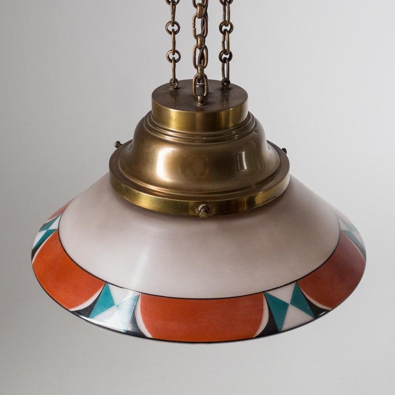 Rare Art Deco Suspension Light, 1920s, Enameled Glass For Sale 2