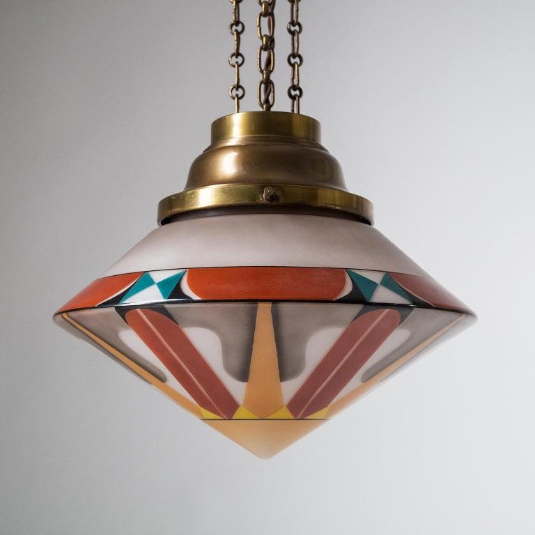 Rare Art Deco Suspension Light, 1920s, Enameled Glass For Sale 4