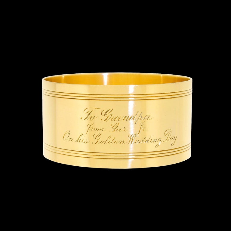 Exceptionally rare solid 18KT yellow gold napkin ring by Tiffany & Co. Not many of these beautiful napkin rings have survived the past 99 years. With the stock market crash of 1929, the Great Depression which lasted 12 years, and World War II,