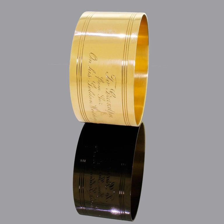 Art Deco Tiffany & Co. 18 Karat Solid Gold Engraved Napkin Ring 47.60 Grams 1920 For Sale 1