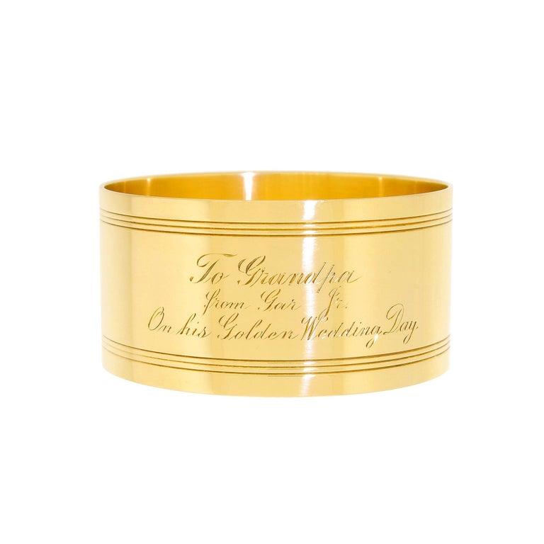 Art Deco Tiffany & Co. 18 Karat Solid Gold Engraved Napkin Ring 47.60 Grams 1920 For Sale 3