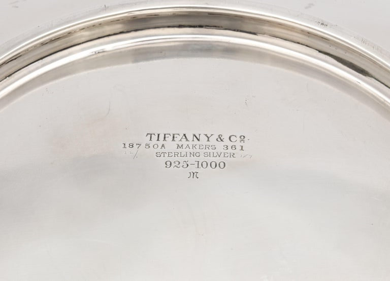 Rare Art Deco Tiffany Sterling Silver Tray on Low Pedestal Base  For Sale 5