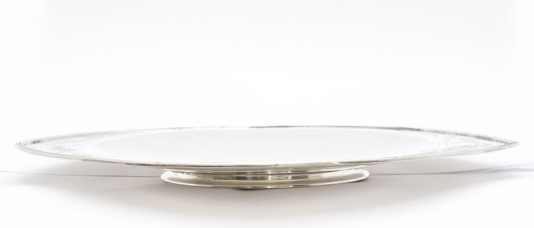 Rare Art Deco Tiffany Sterling Silver Tray on Low Pedestal Base  For Sale 7