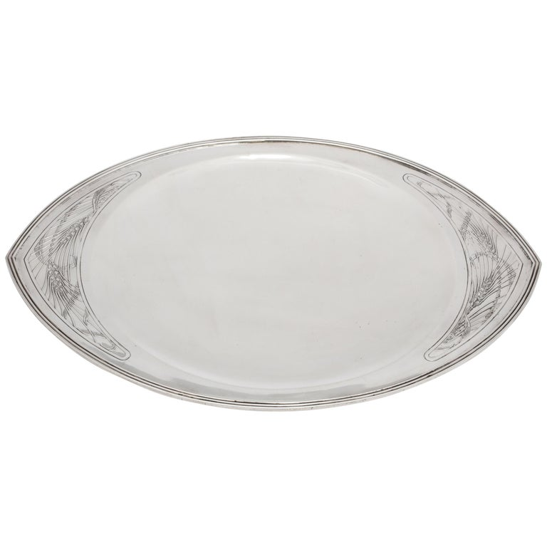Rare Art Deco Tiffany Sterling Silver Tray on Low Pedestal Base  For Sale