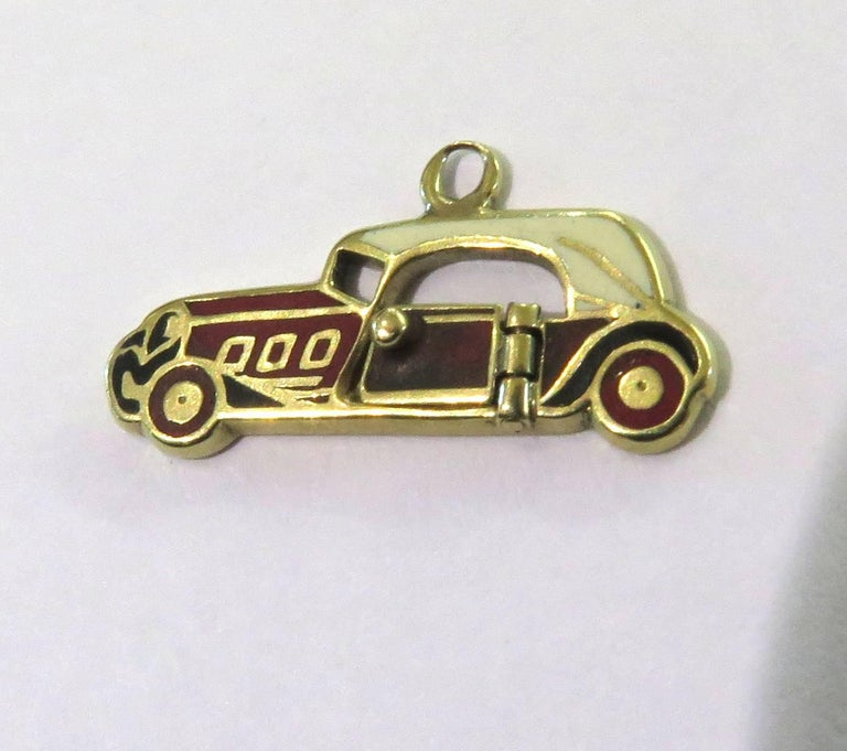 Rare Art Deco Two-Seat Sports Car Movable Enamel Love Charm Pendant For Sale 6