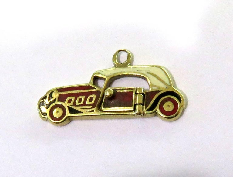 Rare Art Deco Two-Seat Sports Car Movable Enamel Love Charm Pendant For Sale 1