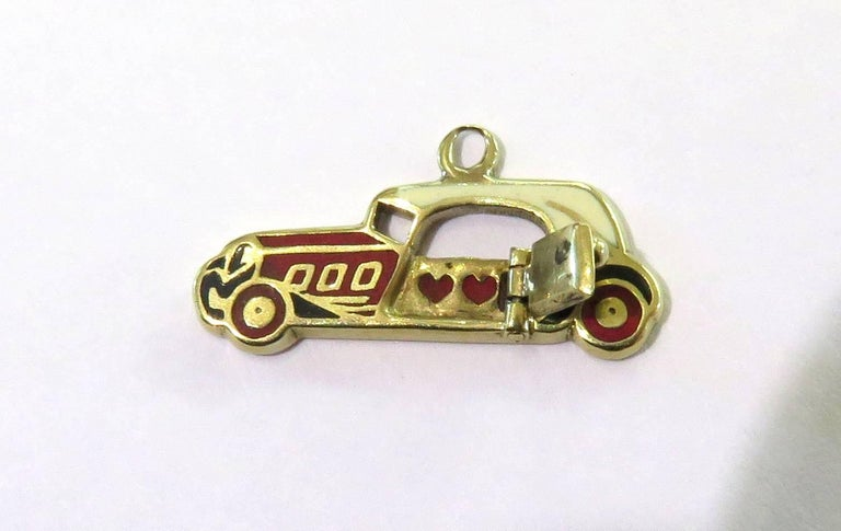 Rare Art Deco Two-Seat Sports Car Movable Enamel Love Charm Pendant For Sale 2