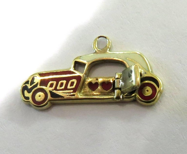 Rare Art Deco Two-Seat Sports Car Movable Enamel Love Charm Pendant For Sale 3