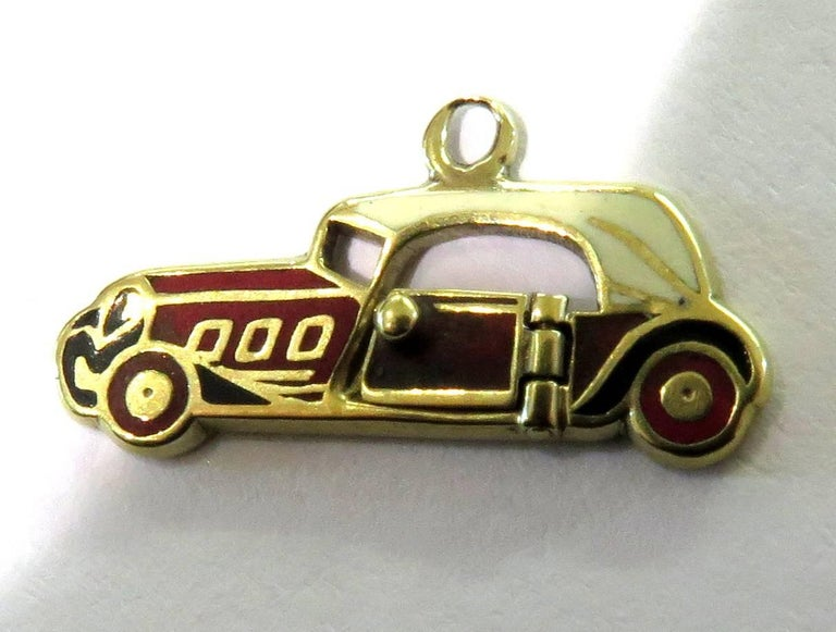 Rare Art Deco Two-Seat Sports Car Movable Enamel Love Charm Pendant For Sale 4