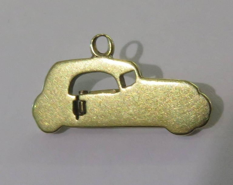 Rare Art Deco Two-Seat Sports Car Movable Enamel Love Charm Pendant For Sale 5