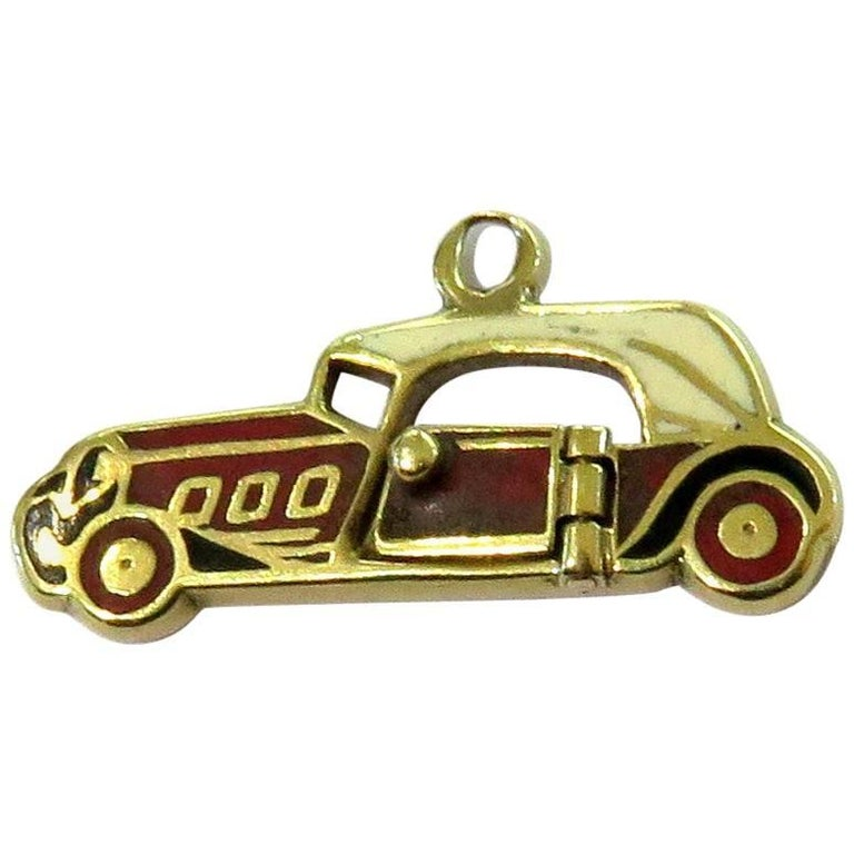 Rare Art Deco Two-Seat Sports Car Movable Enamel Love Charm Pendant For Sale