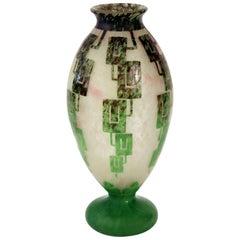 Rare Art Deco Vase by Le Verre Francais