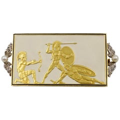 Rare Art Nouveau Gold and Diamond Greek 'Spartan' Soldier Brooch