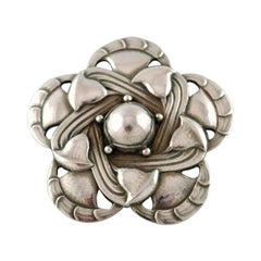 Rare Art Noveau Brooch in Sterling Silver by Georg Jensen, Design Number 12