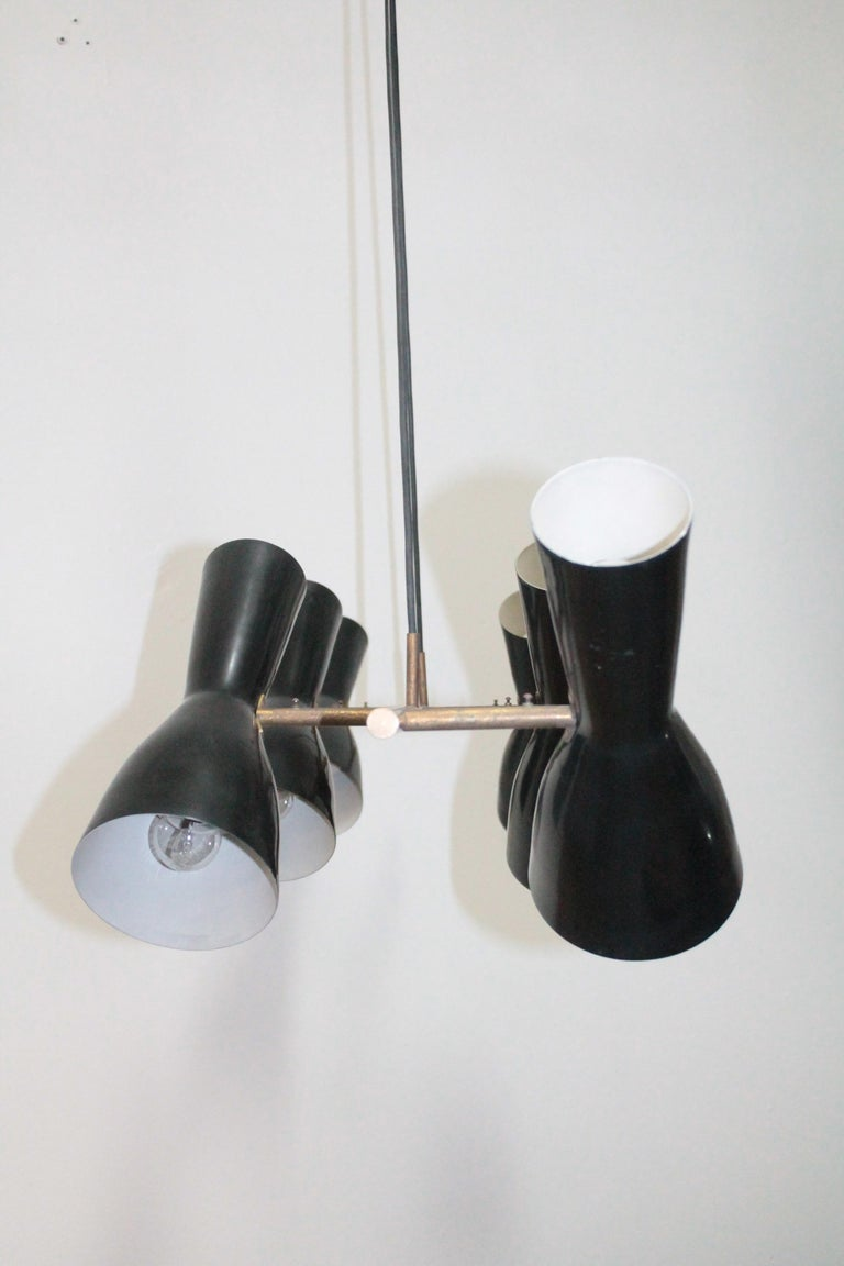 Mid-20th Century Rare Articulated Stilnovo Suspension Light, 1950s For Sale