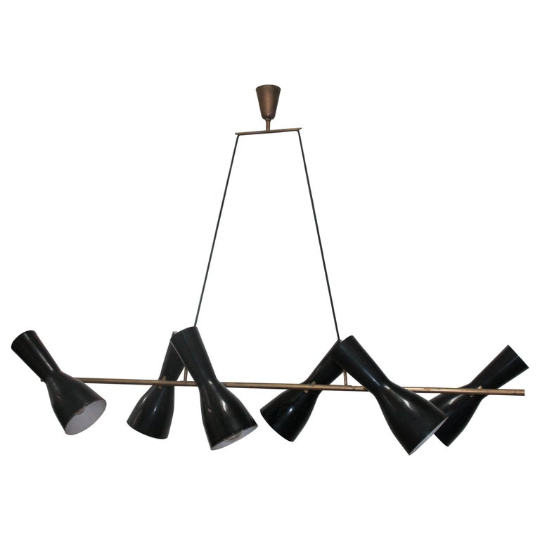 Rare Articulated Stilnovo Suspension Light, 1950s For Sale