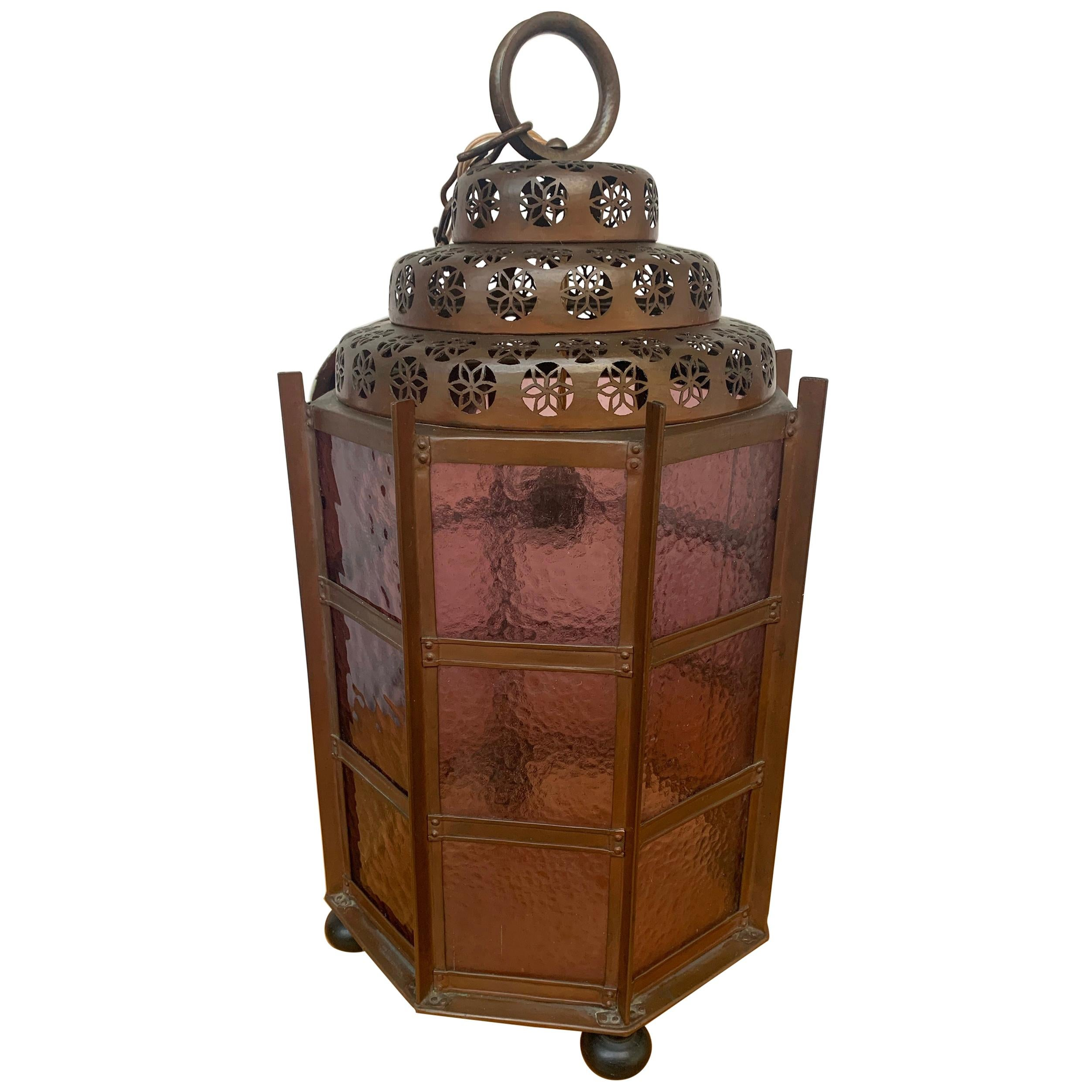 Arts and Crafts Copper Pendant Light or large Hall Lantern with Cathedral Glass