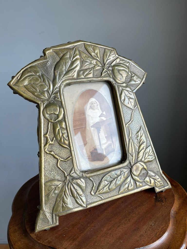 Arts and Crafts Rare Arts & Crafts Table Picture Frame with Embossed Brass Rose Hip and Leafs For Sale