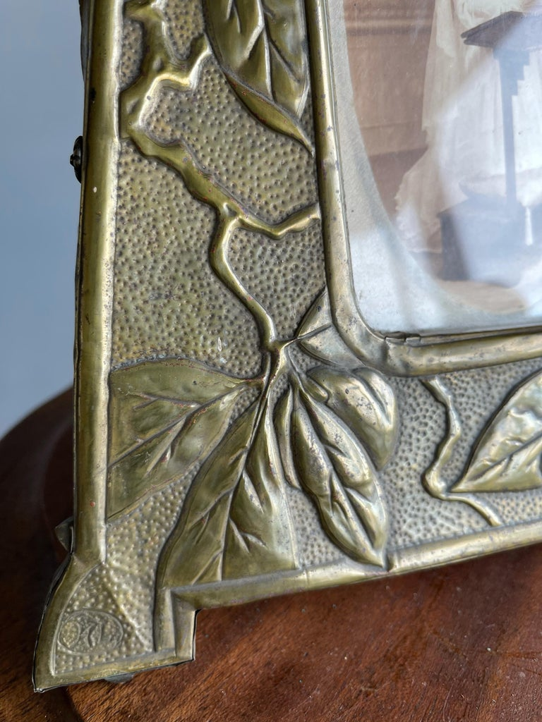 20th Century Rare Arts & Crafts Table Picture Frame with Embossed Brass Rose Hip and Leafs For Sale
