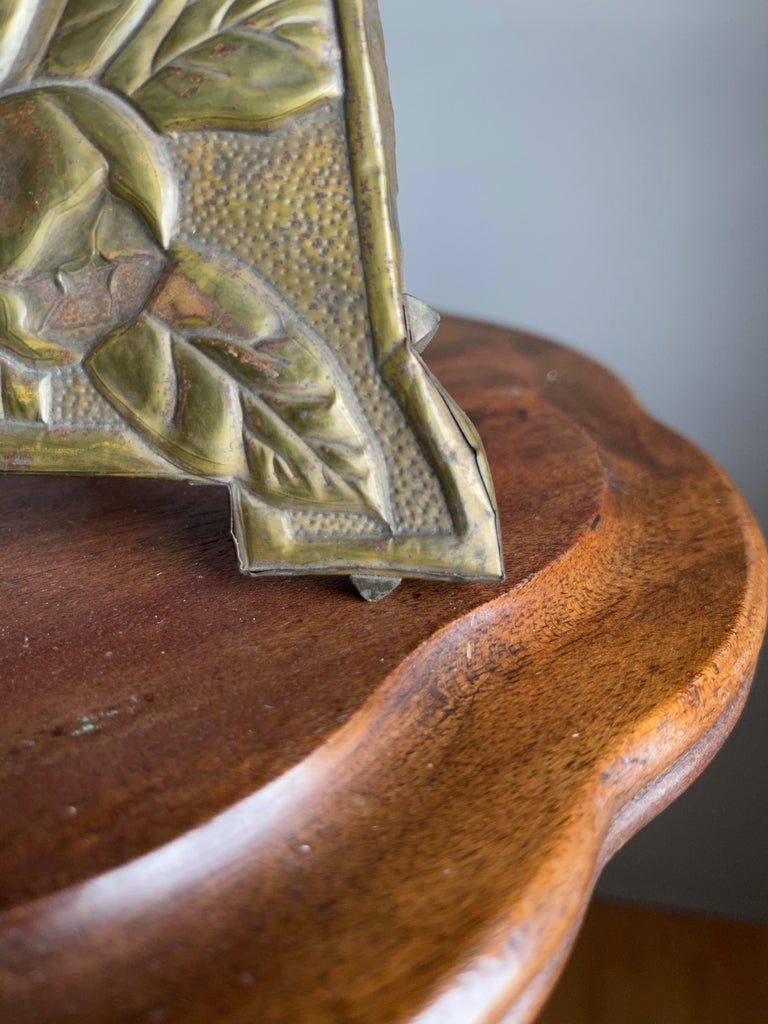 Rare Arts & Crafts Table Picture Frame with Embossed Brass Rose Hip and Leafs For Sale 2