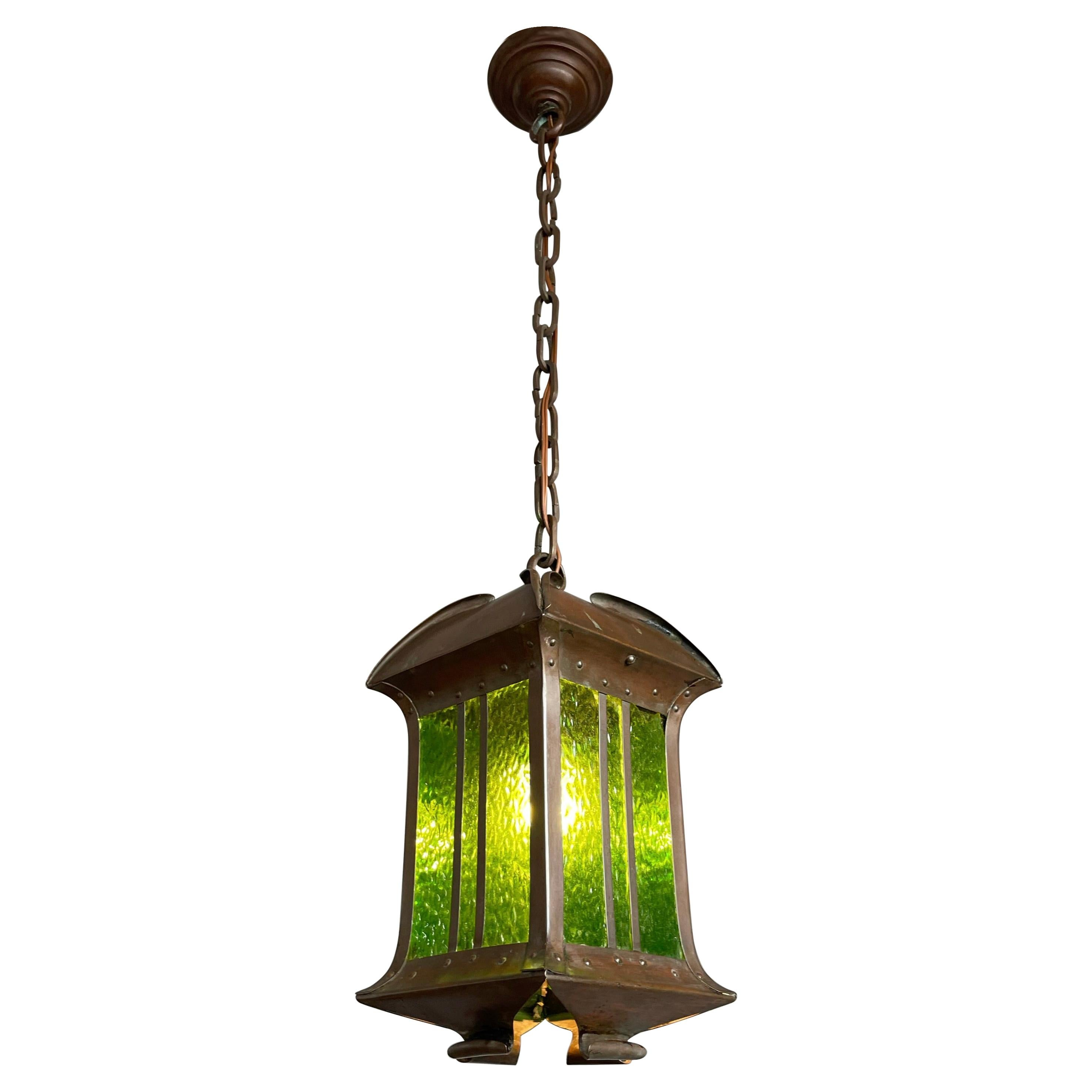 Rare Arts & Crafts Pendant Light / Lantern Patinated Copper & Cathedral Glass
