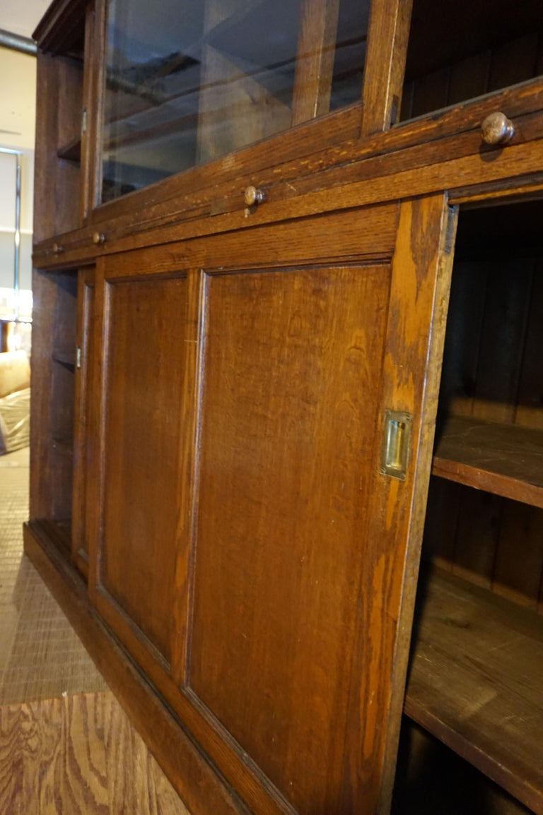 Rare Arts & Crafts Wide Quarter Sawn Oak Barrister's Cabinet with Jotters For Sale 7